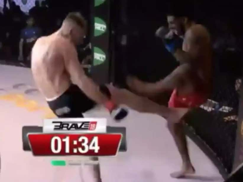 SBG Ireland Fighter Cian Cowley (Conor McGregor's Cellmate!) Just Chopped His Opponent Down With Some Of The Most Savage Leg Kicks I've Ever Seen In The Middle East