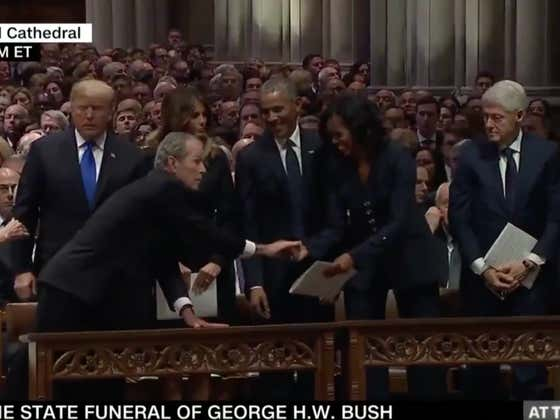 George W. Bush Stays Giving Michelle Obama Candy At Funerals