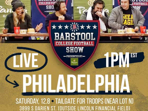 The Barstool CFB Show Presented By Panera Will Be Live From Army-Navy Tomorrow At 1 PM