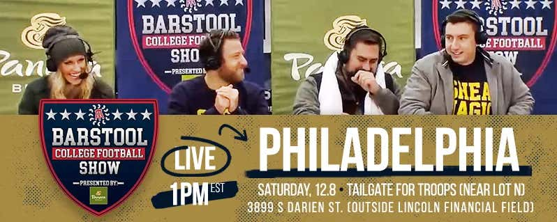 6eaad557645 The Barstool CFB Show Presented By Panera Will Be Live From Army-Navy  Tomorrow At