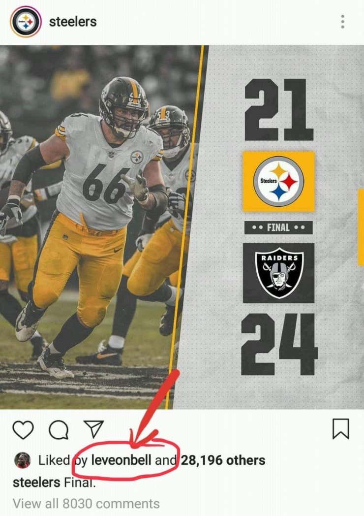 883ea91fa Le Veon Bell is Enjoying the Steelers  Misery - Barstool Sports