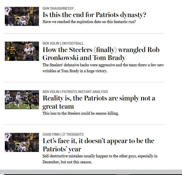 eb21019f44a32a The Boston Globe Declares the Patriots Dynasty is Officially Over ...