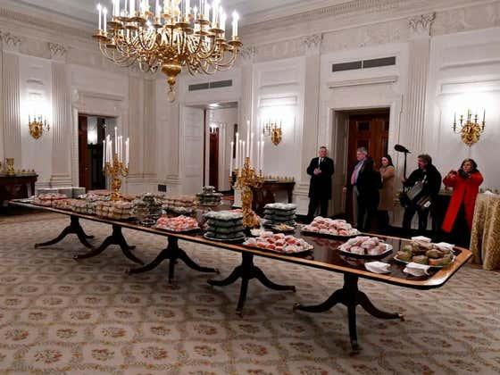 "Washington Post Fact Checks Donald Trump Claim He Piled Hamburgers ""A Mile High"" For Clemson"