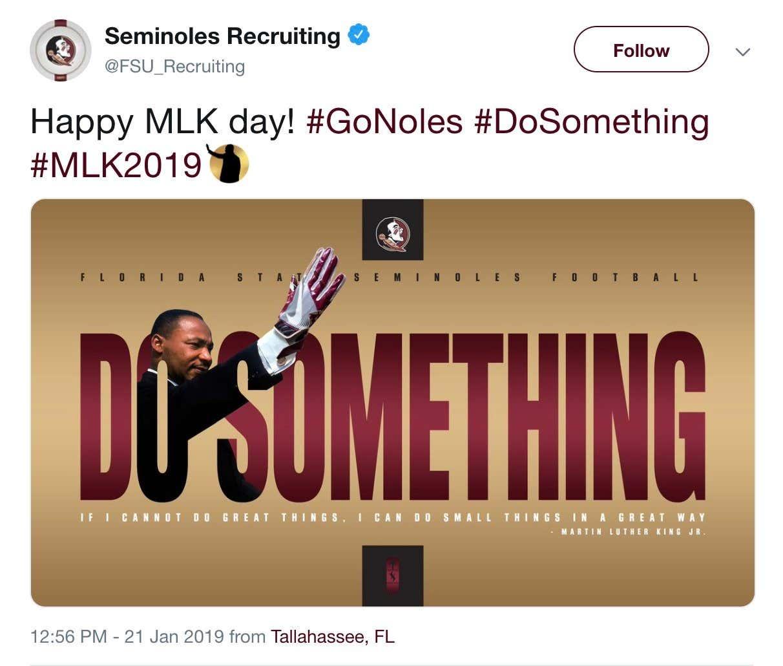 Huge Fsu Recruiting Fan Martin Luther King Jr Honored By Program