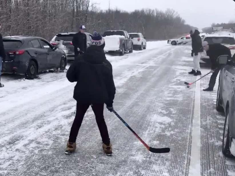 Breaking Out The Hockey Sticks On The Highway During A Massive