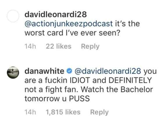 Dana White Clapping Back At UFC Fans With Mean Instagram Comments Will Never Not Crack Me Up