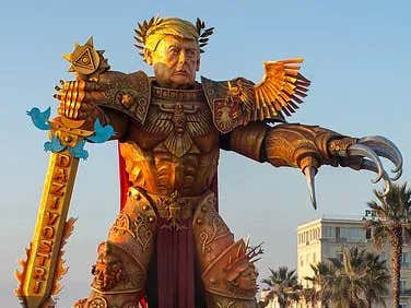 HUGE Statue Of President Trump As A Warhammer Warrior Parades Down Italian Streets Because Nuclear Weapons And The Stock Market or Something