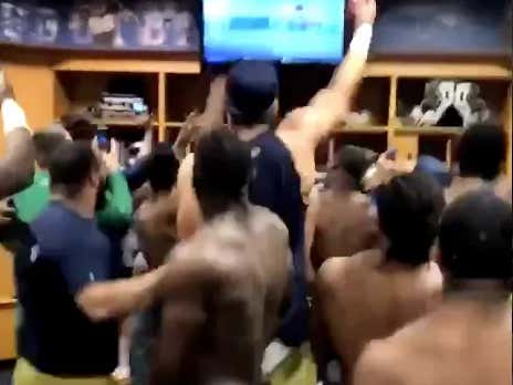 Notre Dame's Locker Room Goes WILD As They Watch Teammate At NFL Combine