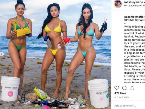 Group Of Brave Smokeshows Clean Up Beach After Selfish Spring Breakers Leave It Trashed