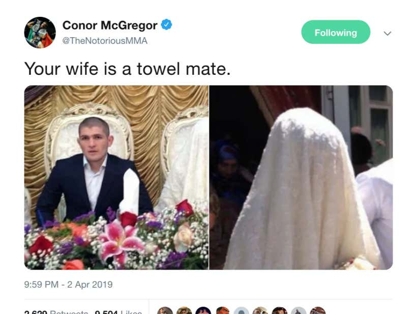 Conor McGregor Follows Up Massive Photo Dump By Calling Khabib Nurmagomedov's Wife A Towel
