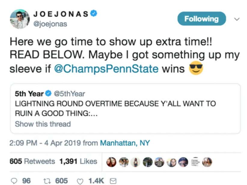 b5eac3f4cf2 Joe Jonas Wants Penn State Bar Champs To Win  BarstoolBestBar More Than  Anything