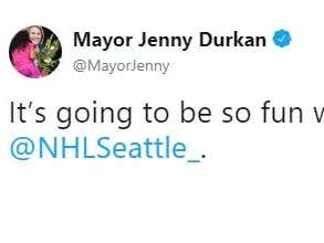 Seattle Mayor Tweets The NHL Expansion Team Name And It's Stupid