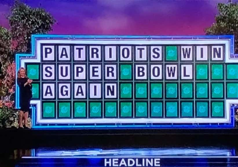 The Patriots Were A Wheel Of Fortune Answer Once Again