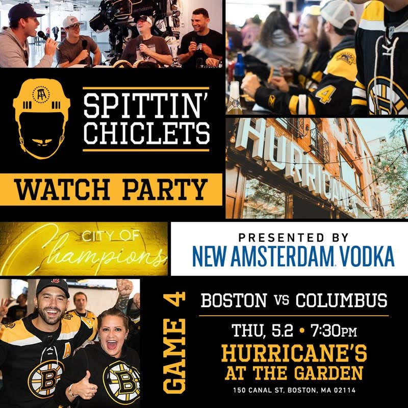 Spittin' Chiclets Is Doing A Live Watch Party For Bruins