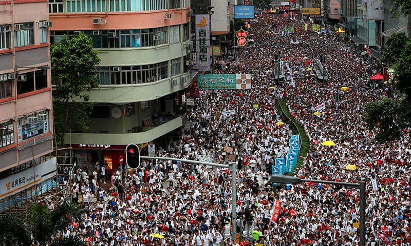 Protest to demand authorities scrap a proposed extradition bill with China, in Hong Kong
