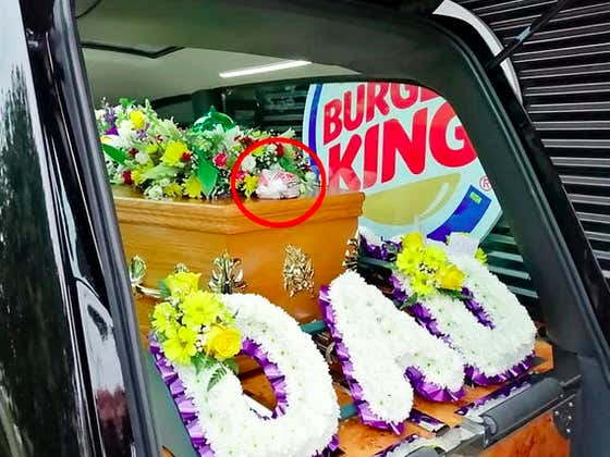 A Hearse Stopped To Pick Up One Last Double Bacon Cheeseburger For A Deceased, Burger King Loving Man In His Coffin