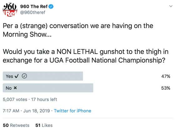 An Astounding Amount Of Georgia Fans Would Take A Gunshot To The Thigh In Exchange For A National Championship