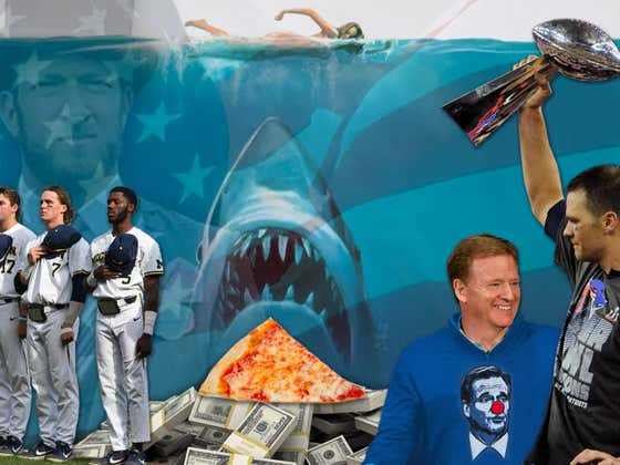 My Apology To Dave + A Photoshop Of Him With An American Flag, Pizza, Money, Tom Brady, A Jaws Poster, Michigan Baseball And Clown Nose Goodell