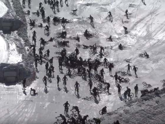 Hundreds Of Mountain Bikers Crashed Into Each Other Trying To Race Down A Glacier Like A Bunch Of Idiots, Video Belongs In A Museum