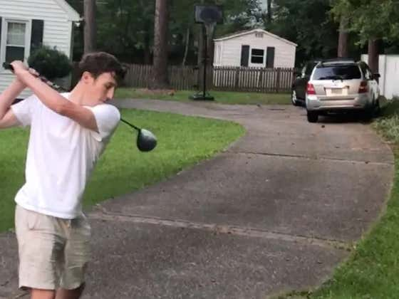 Croc Wearing Chad Hits Golf Ball Through Mom's Car