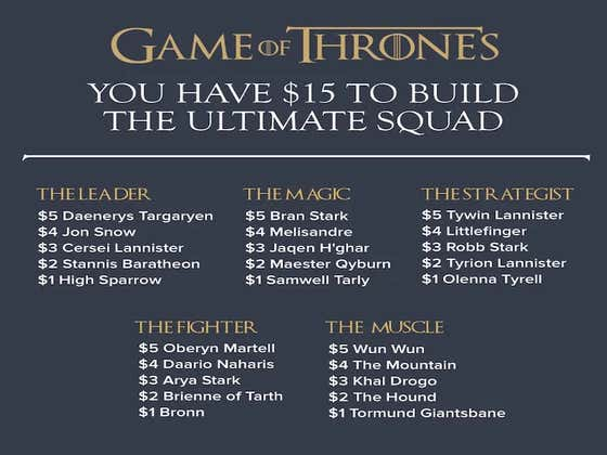 You Have $15 To Build A Game Of Thrones Squad. Who Do You Choose?