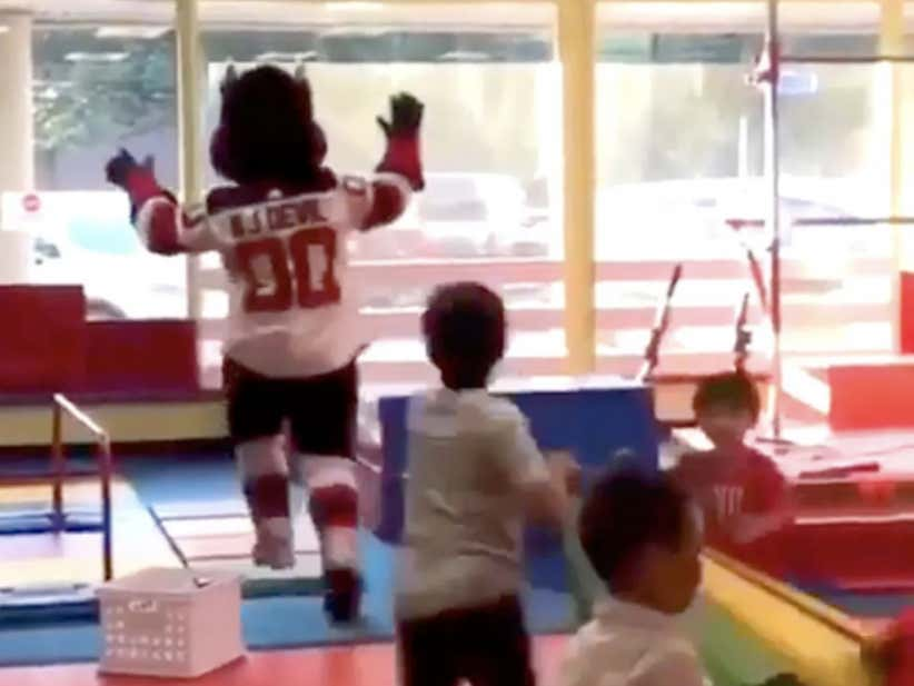 New Jersey Devils Mascot Ruins A Child's Birthday, Possibly Life, By Running Through A Glass Window At Birthday Party