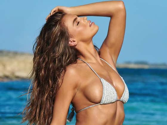 SI Swim Model Search Winner, Brooks Nader, Throws One Hell Of A Pitch