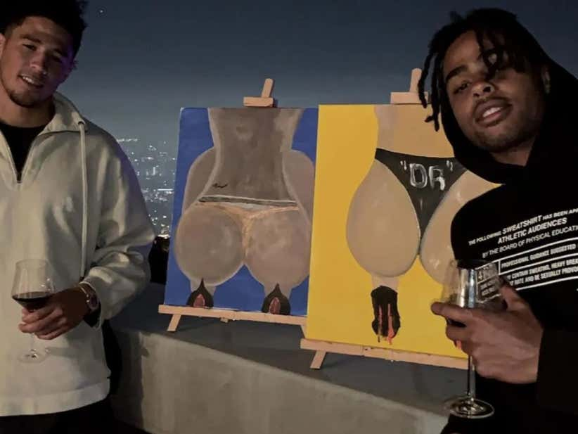 D'Angelo Russell And Devin Booker Went To A Paint And Sip And Painted Masterpieces (They Are Butts, The Paintings Are Giant Asses In Thongs)