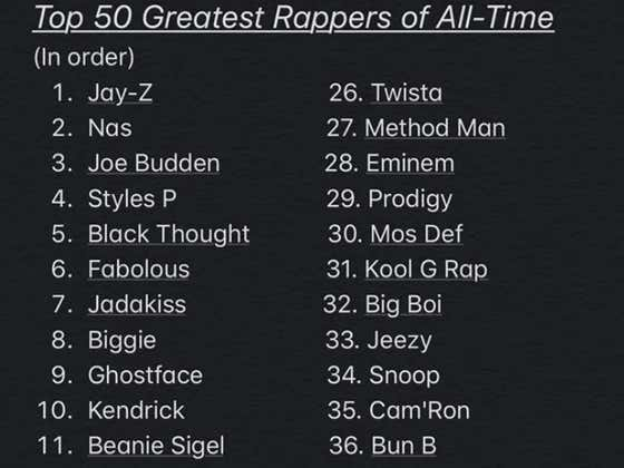 "The Viral Top 50 Rappers Of All Time List Earns The Number 1 Spot On The ""Worst Lists Of All Time"" List"