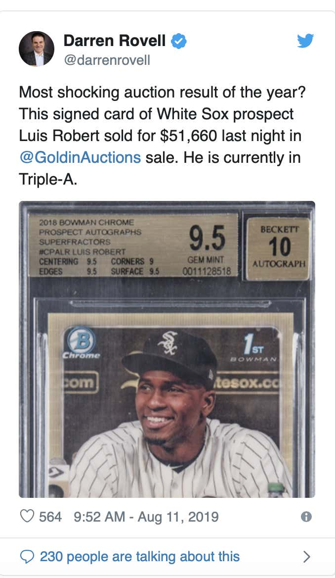 Luis Robert Baseball Card Sells For 52000 Which Is Weird