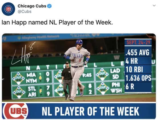 I Am So Jacked Up Right Now For The Cubs: Ian Happ Named NL Player Of The Week