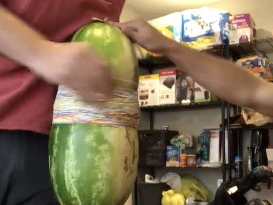 This Watermelon Rubber Band Cutting Is Oddly Pleasing