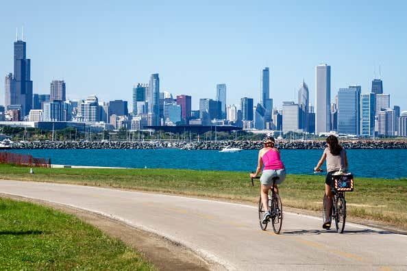 Bikers riding along the Lakefront Trail of 39th Street Beach.