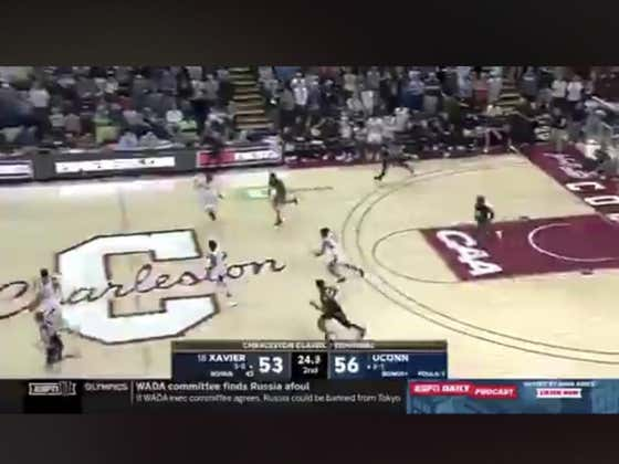Xavier (-210) hits this three to push the game to overtime to eventually win it 75-74 in double OT.