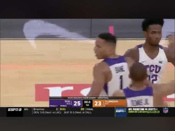 Clemson misses an open dunk which leads to a last second layup for TCU to cover 1H -.5