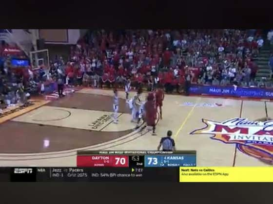 Dayton hits a DEEP three to push the game to OT and secure the win for over bettors (147)