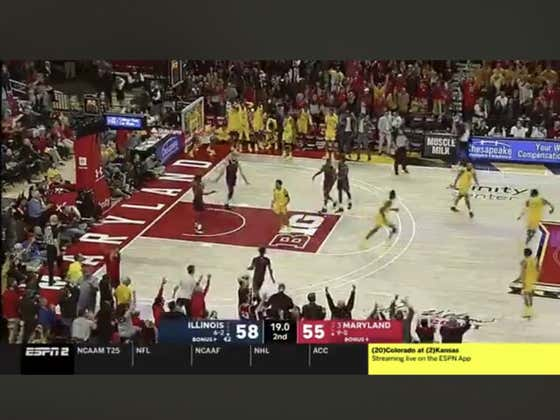 Maryland busts Illinois (+425 ML) off this deep three to tie and went on to hit a free throw with two seconds left to win it