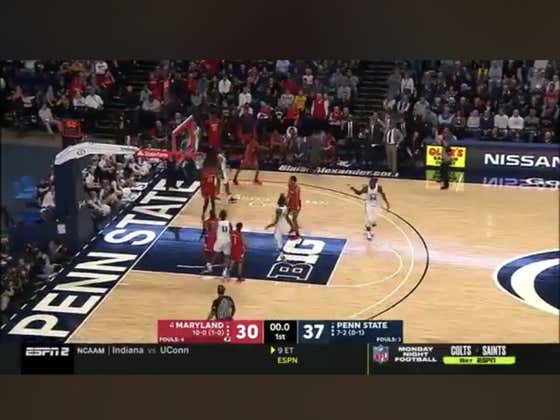 Penn State hits this buzzer beater three to hit the 1H over (67.5)