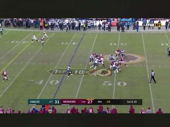 Haskins fumbles backwards and the Eagles take it to the house to backdoor -6.5 over the Redskins.