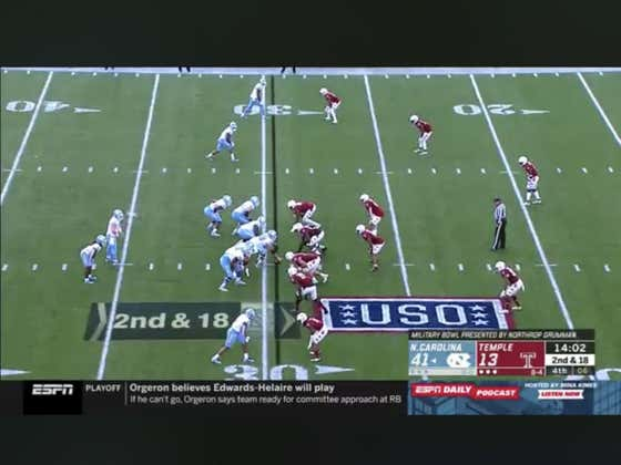 The Military Bowl total (57) goes over on this touchdown in the third quarter.