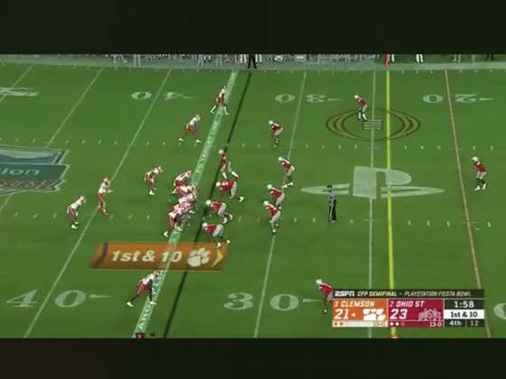 Clemson (-2.5) goes 94 yards in four plays to take the lead with under two minutes to play.