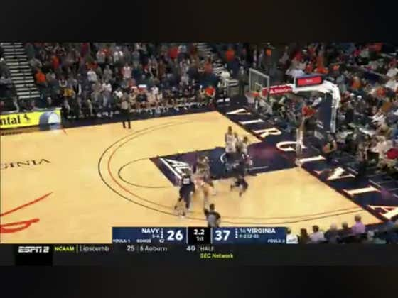 Navy made this 3 at the buzzer to cut UVA's lead to 8 and cover the 1H spread (+10)