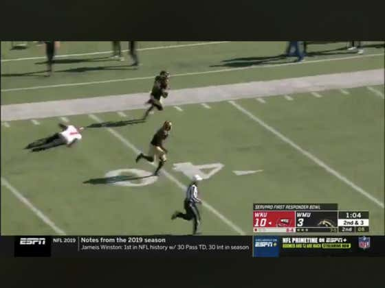 WMU takes an interception 85 yards to the house with a little over a minute to go in the half to cover 1H +1.5.