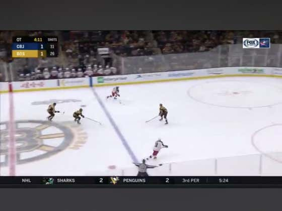 The Jackets (+190) score within the first minute of OT to beat the Bruins 2-1