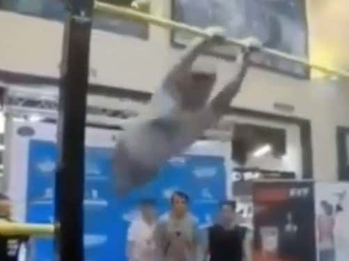 Guy Knocks Himself Into Another Dimension Trying To Impress People On The High Bar