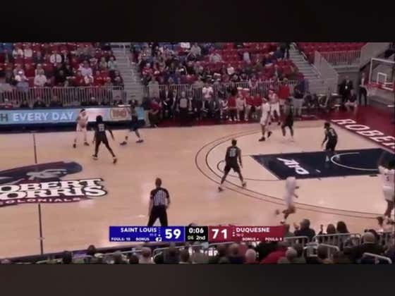 Duquesne with an alley oop in the final seconds of the game to hit the over (131.5)