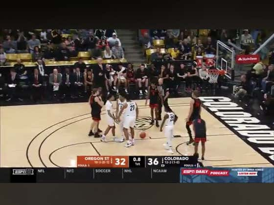 Colorado with a dunk right before the buzzer to cover 1H -4